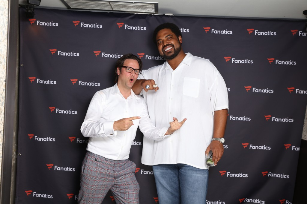 Jonathan Ogden & Dennis Goedegebuure at the Fanatics Super Bowl party San Francisco